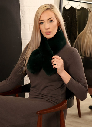 Faux Fur Tippet Forest Green