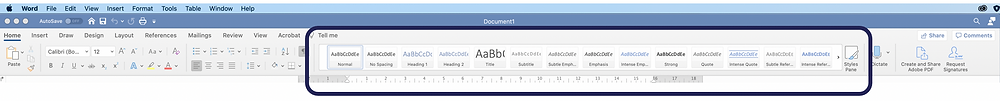 Screenshot of the Word ribbon, with the Styles highlighted with a purple box