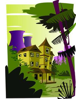 Décor Maison en Ruines Illustrator
