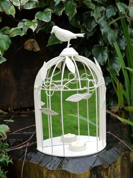 Decorative Bird Cage Mirror Candle Holder