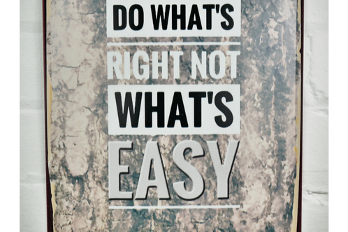 Do Whats Right Not Whats Easy Inspirational Quote Metal Signplaque