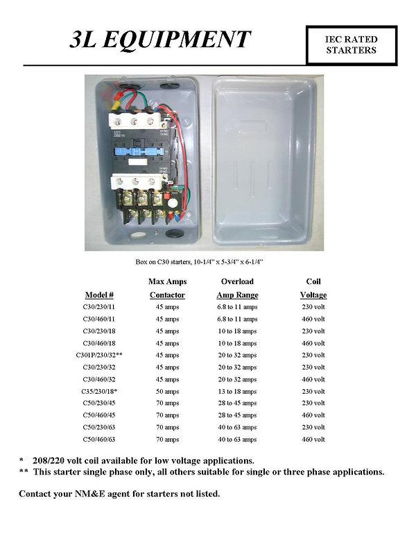 3L Equipment, IEC Rated Starters, C30/230/11, C30/460/11, C30/230/18, C30/460/18, C301P/230/32, C30/230/32, C30/460/32, C35/230/32, C50/230/45, C50/460/45, C50/230/63, C50/460/63