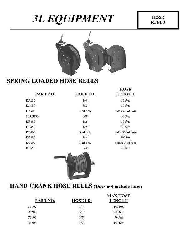 3L Equipment, Hose Reels, DA230, DA330, DA300, 10503850, DB430, DB450, DB40, DC410, DC600, DC650, Spring Loaded Hose Reels, Hand Crank Hose Reels, CL102, CL202, CL103, CL203