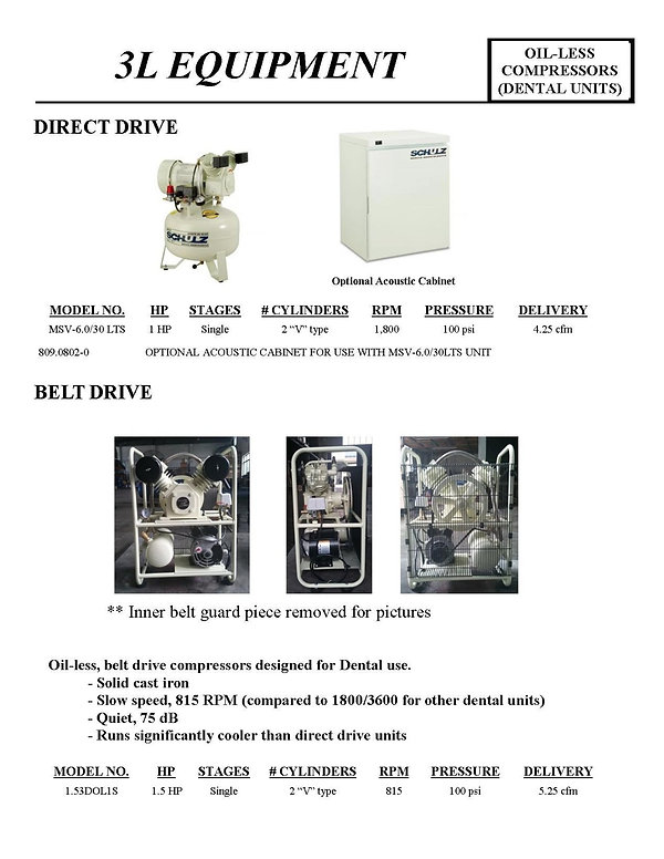 3L Equipment Oil-less Compressors (Dental Units), MSV-6.0/30 LTS, Direct Drive, Belt Drive, 1.53DOLIS