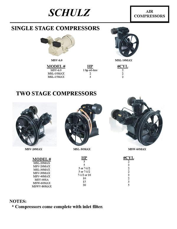 Shulz Air Compressors, Single Stage Compressors, Two Stage Compressors, MSV-6.0, MSL-10MAX, MSL-15MAX, MSL-20MAX, MSV-20MAX, MSL-30MAX, MSV-30MAX, MSV-40MAX, MSV-40SA, MSW-60MAX, MSWV-80MAX