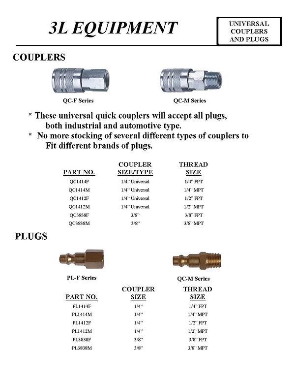 3L Equipment, Universal Couplers and Plugs, Couplers, Plugs, qc1414f, qc1414m, qc1412F, QC1412M, QC3838F, QC3838M, PL1414F, PL1414M, PL1412F, PL1412M, PL3838F, PL3838M