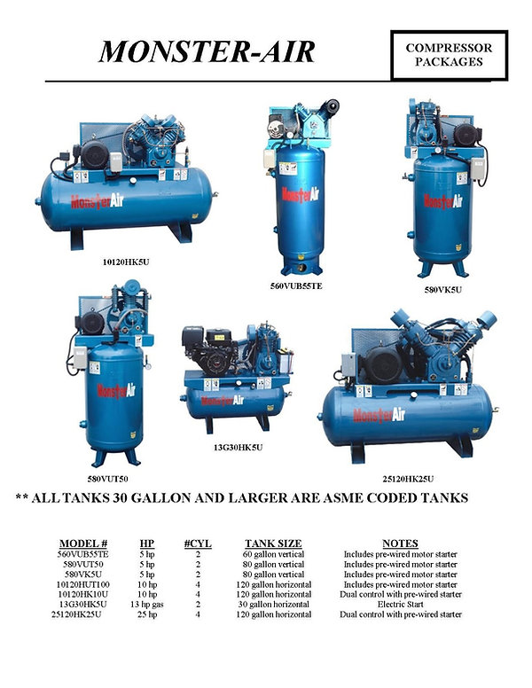 Monster-Air Air Compressor Packages, 560VUB55TE, 580VUT50, 580VK5U, 10120HUT100,10120HUT10U, 13G30HK5U, 25120HK25U