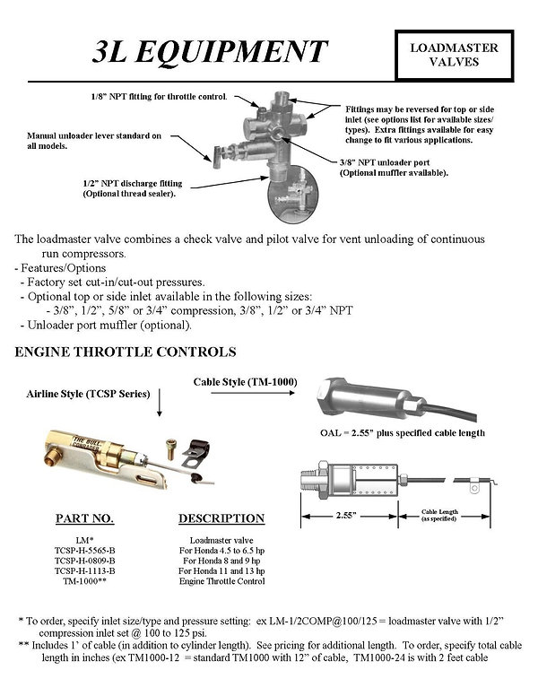 3L Equipment, Loadmaster Valves, Engine Throttle Controls, Airline Style, TCSP-H-5565-B, TCSP-H-0809-B, TCSP-H-1113-B, TM-1000