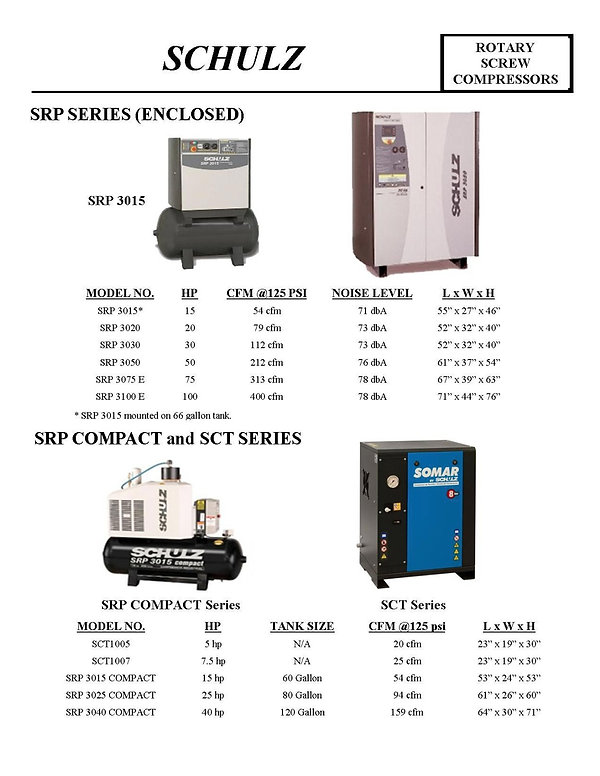 Schulz Rotary Screw Compressors, SRP 3015, SRP 3020, SRP 3030, SRP 3050, SRP 3075 E, SRP 3100 E, SCCT1005, SCT1007, SRP 3015 COMPACT, SRP 3025 COMPACT, SRP 3040 COMPACT