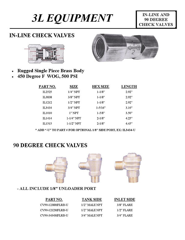 3L Equipment, In-Line Check Valves, 90 Degree Check Valves, IL2525, IL3838, IL1212, IL3434, IL1010, IL1414, IL1515, CV90-1238MFLRB-U, CV90-1212MFLRB-U, CV90-3434FLRB-U