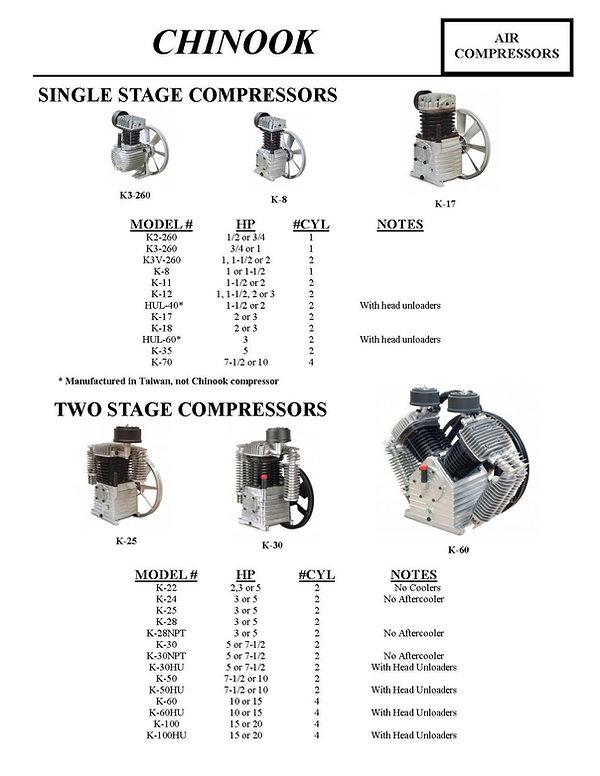 Chinook Air Compressors, Single Stage Compressors, Two Stage Compressors, K2-260, K3-260, K3V-260, K-8, K-11, K-12, HUL-40, K-17, K-18, HUL-60, K-35, K-70, K-22, K-24, K-25, K-28, K-28NPT, K-30, K-30NPT, K-30HU, K-50, K-50HU, K-60, K-60HU, K-100, K-10HU