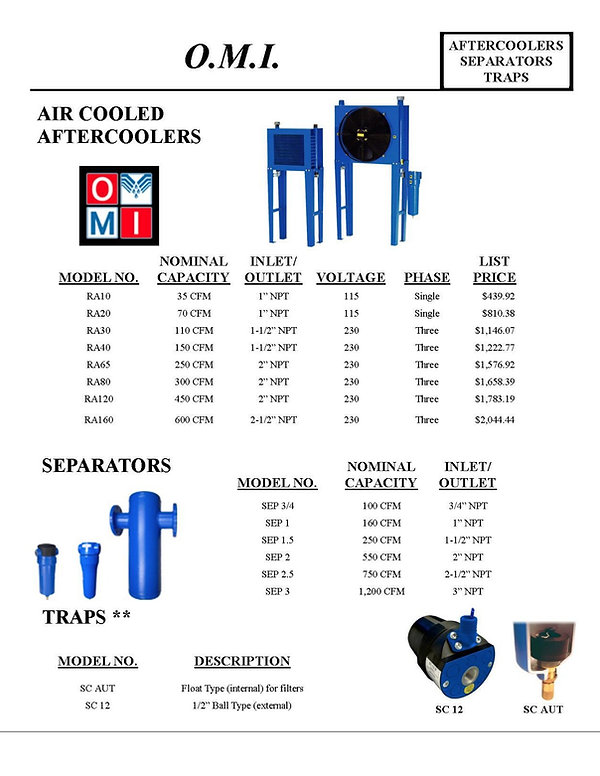 O.M.I., Aftercoolers Separators Traps, Air Cooled Aftercoolers, Separators, RA10, RA20, RA30, RA40, RA80, RA65, RA120, RA160, Traps, SEP 3/4, SEP 1, SEP 1.5, SEP 2, SEP 2.5, SEP 3, SC AUT, SC 12