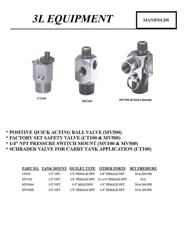 3L Equipment, Manifolds, CT100, MV100, MV500A, MV50B