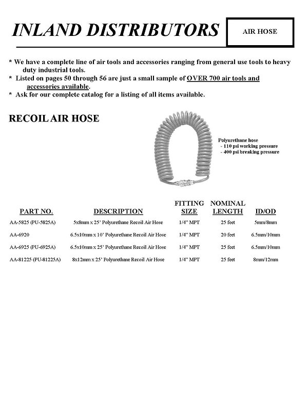 Inland Distributors, Air hose, Recoil Air Hose, AA5825, AA-6920, AA-6925, AA-81225