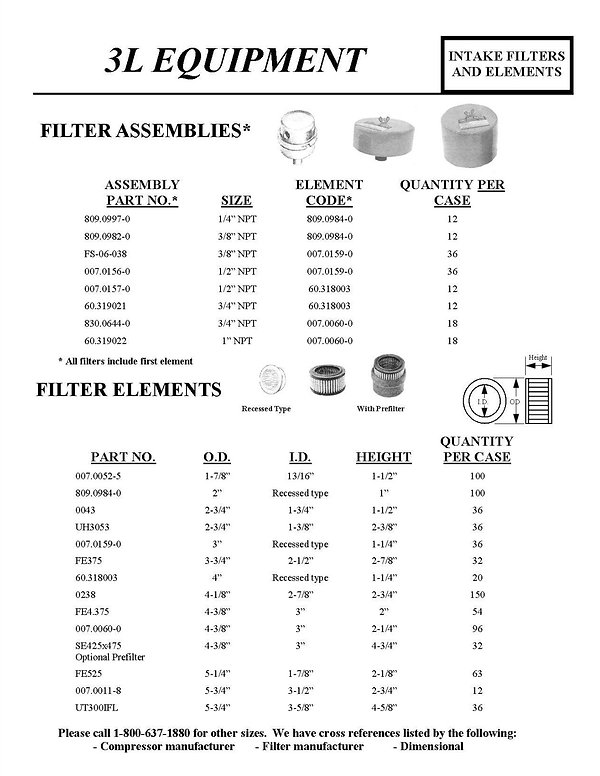 #L Equipment, Intake Filters and elements, Filter Assemblies, Filter Elements