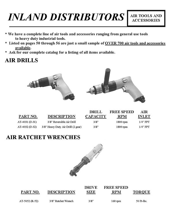 Inland Distributors, Air Tools and Accessories, Air Drills, Air Ratchet Wrenches, AT-4031, AT-4032, AT-5052