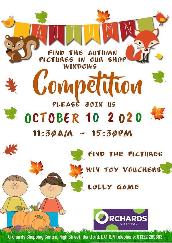 October Competition at The Orchards Shopping Centre, Dartford. The Roaring Fun Club for kids of all ages!