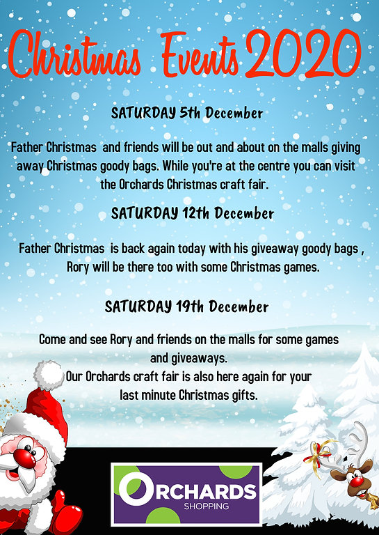 Christmas Events 2020, at The Orchards Shopping Centre, Dartford
