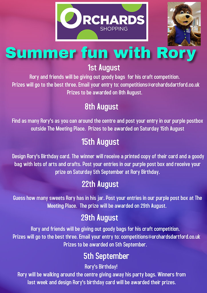 The Orchards Shopping Centre's Roaring Fun Club, Summer 2020 Events