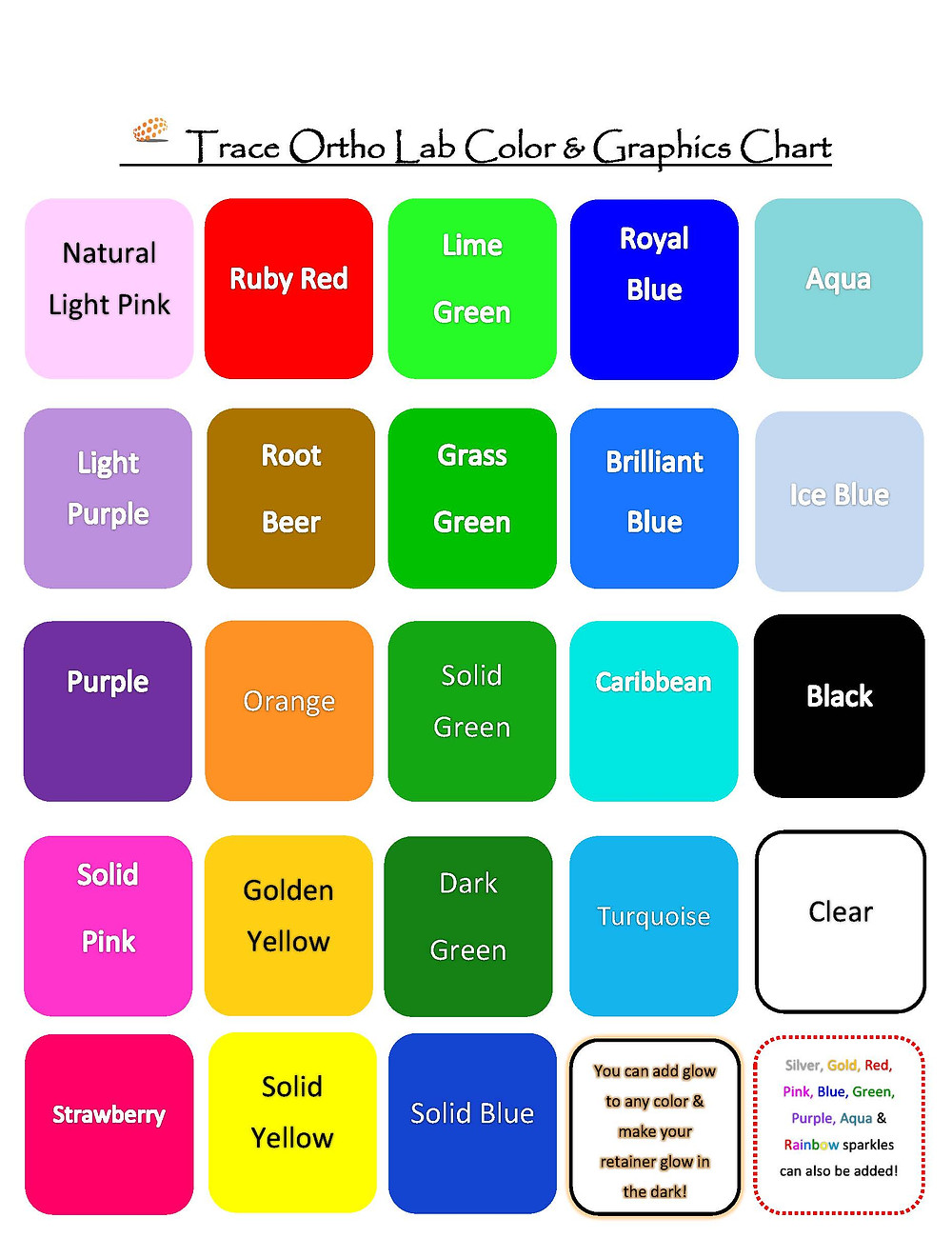 Trace Ortho Lab Color Chart