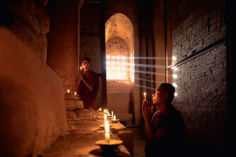 Novice Monks Praying