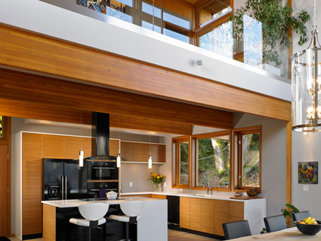 High ceilings with exposed beams...