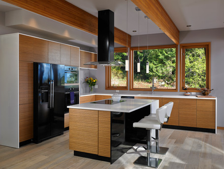 Custom kitchen with exposed beams...
