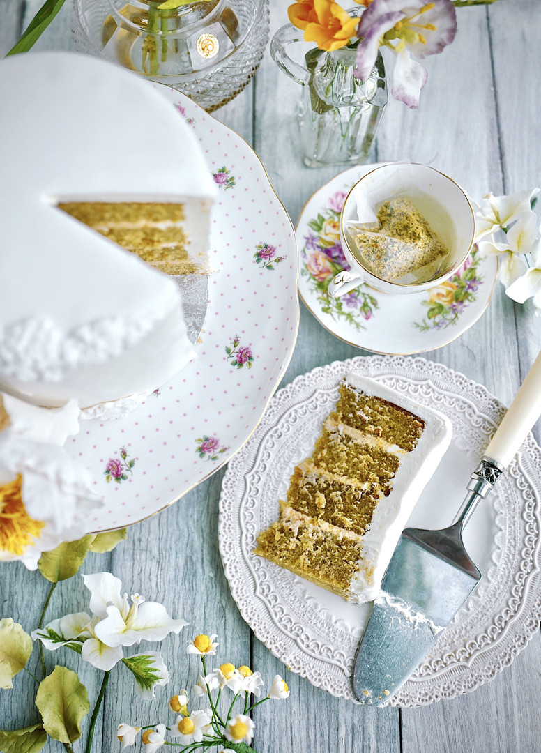 CHAMOMILE DREAM ($) - Layers of moist butter sponge infused with chamomile tea, filled with delicate honey & vanilla buttercream and a hint of fresh lemon zest.