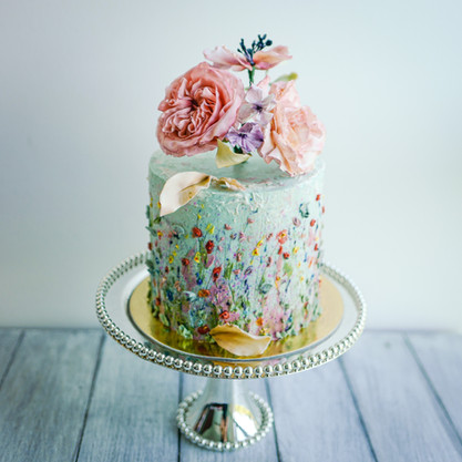 Painted buttercream floral meadow cake
