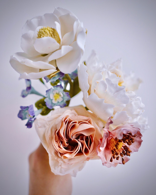 Sugar flower bouquet with sugar magnolia, sugar roses, sugar forget-me-nots & sugar peony