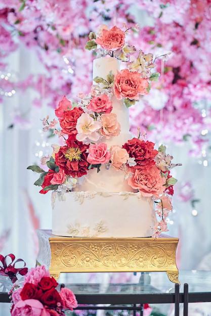 Cherry blossom splendour - 5-tier cake with handmade sugar peonies, roses & cascades of cherry blossoms