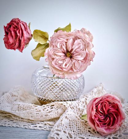Signature handcrafted David Austin rose & sugar garden tea roses