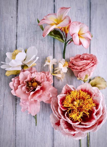 Sugar peony, roses, magnolia & frangipanis