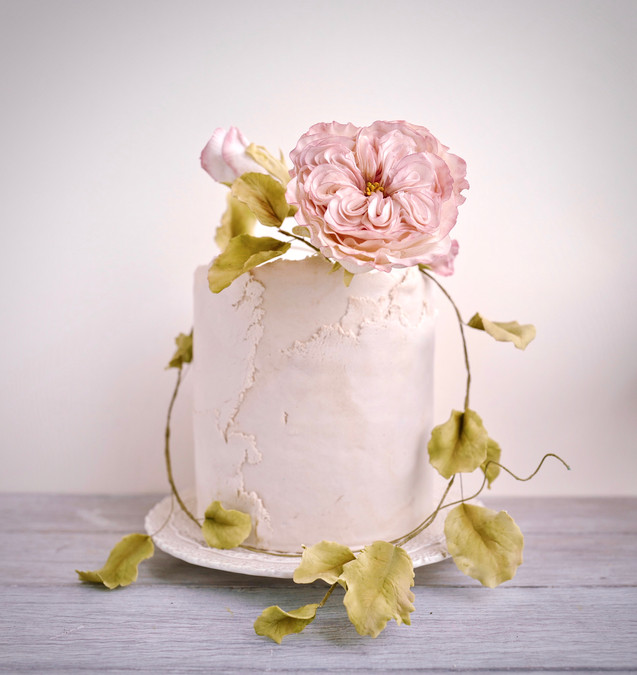 Rambling Rose - Signature sugar David Austin Rose on a torn fondant cake