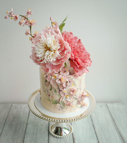 Peonies & cherry blossoms with palette knife buttercream floral design
