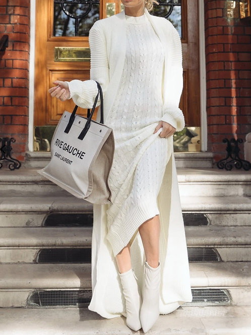 Ageless Davina Maxi Cardigan & Knitted Dress Set