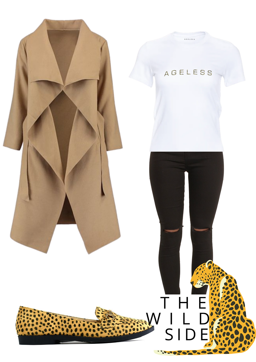AGELESS WATERFALL COAT £24.95 | AGELESS WILD THING FITTED T £12.95 | AGELESS WILD THING PUMPS £12.95