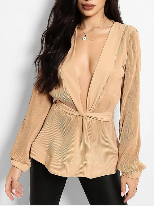 Ageless Plunge Pleated Blouse