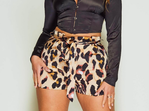 Ageless Leopard Print Satin Shorts