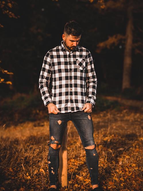Ageless Mens Black & White Checked Shirt