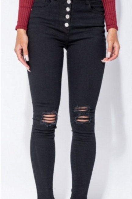 Ageless High Waisted Distressed Jeggings