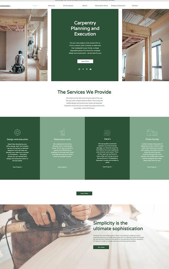 home page screenshot of a pre built website for  Golander Carpentry by mevadel.com