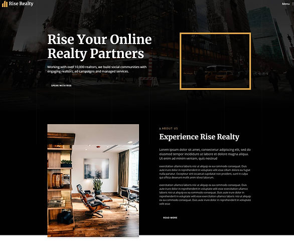 Home page screenshot of a pre built website for a Real Estate company