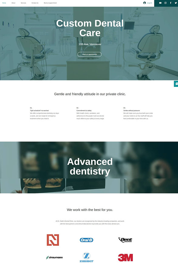 Home page screenshot of a pre built website for a dental clinic