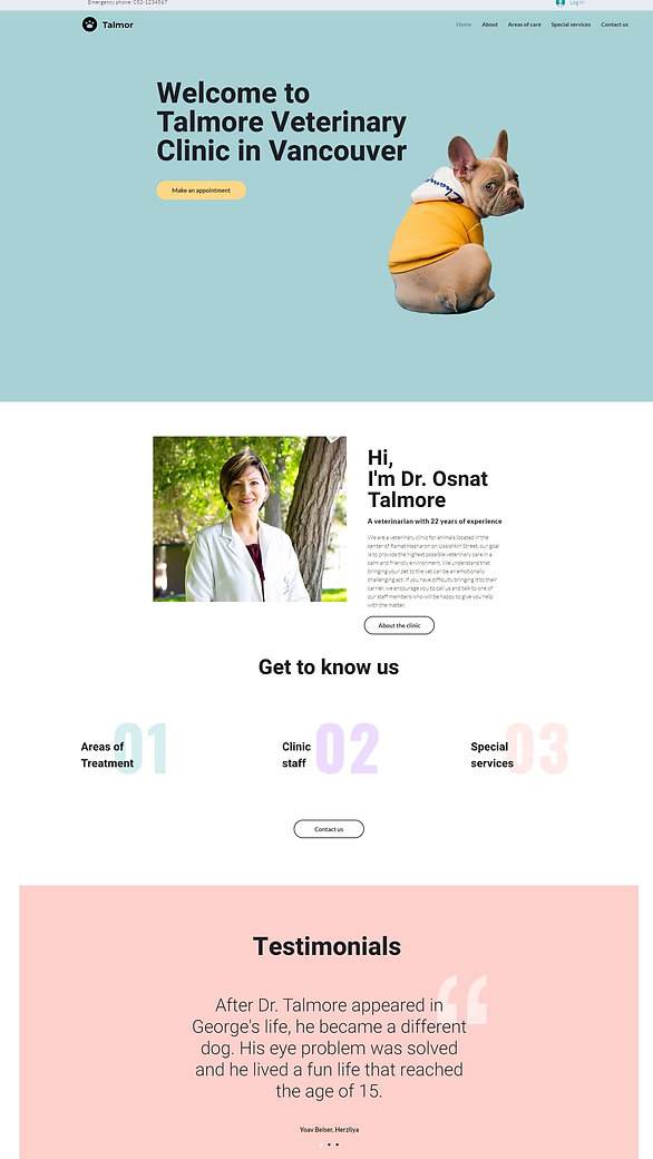home page screenshot of a pre built website for  Veterinary clinic