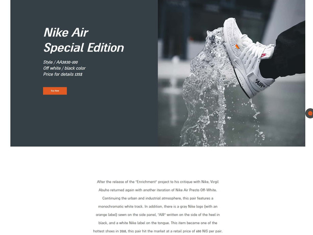 Shoe store landing page
