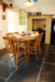 Breakfast room, range master cooker, slate flooring