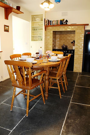 Breakfast room, range master cooker, slate flooring