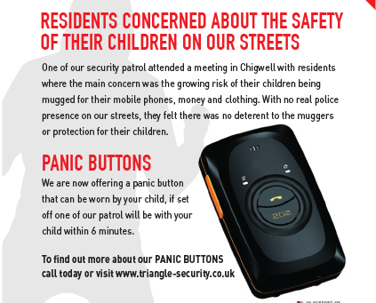 Sales of our panic button increase as more parents worry about the safety of their family on our str