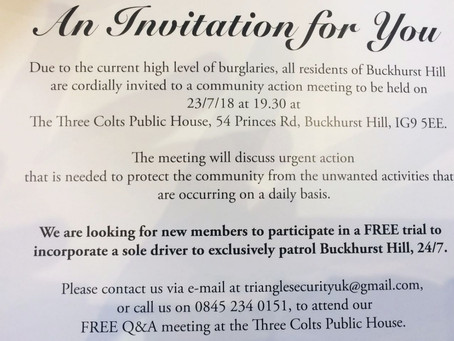An invitation to a community action meeting in Buckhurst Hill.